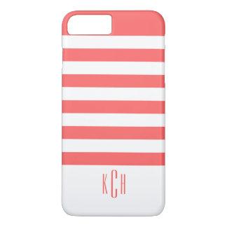 白のモダンな珊瑚のストライプなパターン iPhone 8 PLUS/7 PLUSケース