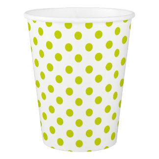 白のライムグリーンの水玉模様 紙コップ