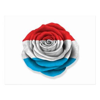 白のルクセンブルクのばら色の旗 ポストカード