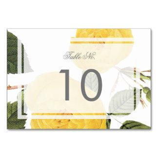 白のヴィンテージのバラ園のテーブル数カード カード