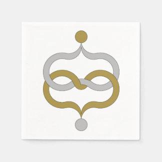 白の上品ペーパーNAPKIN_MODERN GOLD/SILVER スタンダードカクテルナプキン