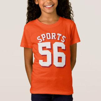 白の子供|のスポーツのジャージーのオレンジ及びデザイン Tシャツ