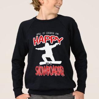 白の幸せなスノーボーダー スウェットシャツ
