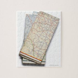 白の折られた道路図の積み重ね ジグソーパズル