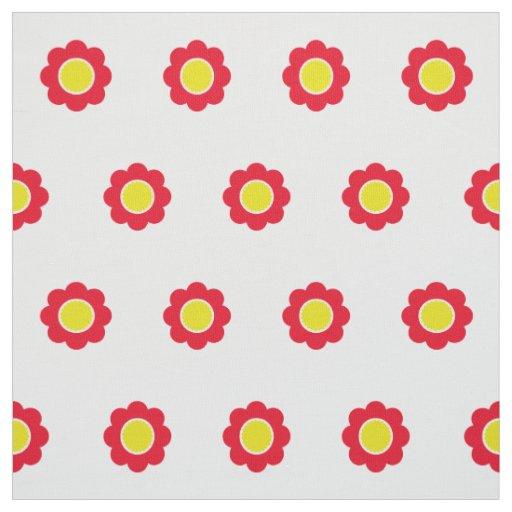 白の明るく赤くおよび黄色の花 ファブリック