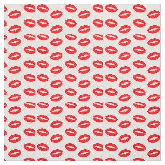 白の極度の明るいネオン赤い唇 ファブリック