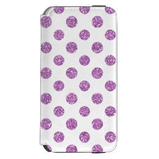 白の模造のなラベンダーのグリッターの水玉模様パターン INCIPIO WATSON™ iPhone 5 財布型ケース
