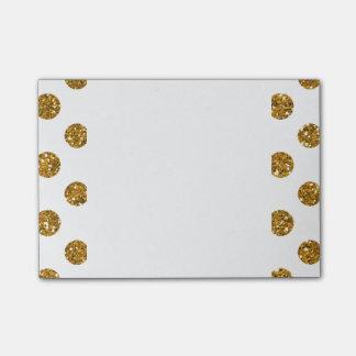 白の模造のな金ゴールドのグリッターの水玉模様パターン ポストイット