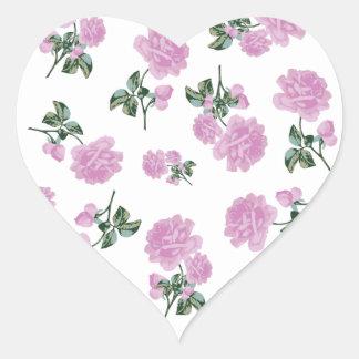 白の淡いピンクのバラの花模様 ハートシール
