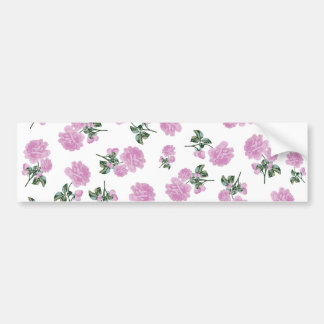 白の淡いピンクのバラの花模様 バンパーステッカー
