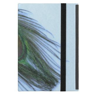 白の淡いブルーの孔雀の羽 iPad MINI ケース