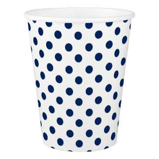 白の濃紺の水玉模様 紙コップ