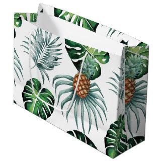白の熱帯水彩画のパイナップル絵画 ラージペーパーバッグ