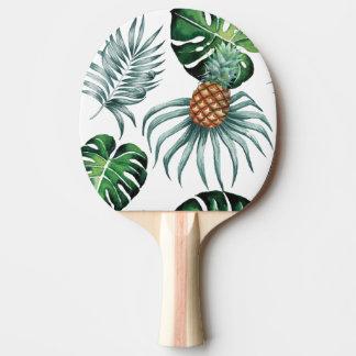 白の熱帯水彩画のパイナップル絵画 卓球ラケット
