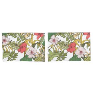 白の熱帯花柄 枕カバー