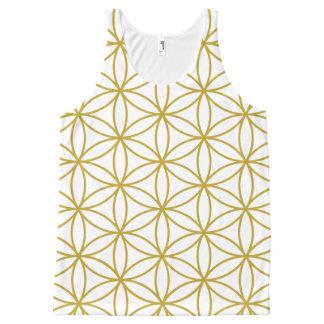 白の生命パターン金ゴールドの花 オールオーバープリントタンクトップ