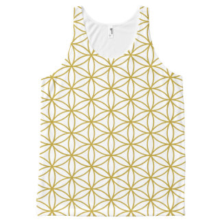 白の生命繰り返しパターン金ゴールドの花 オールオーバープリントタンクトップ