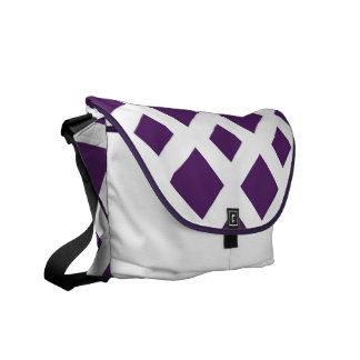 白の紫色のダイヤモンド メッセンジャーバッグ
