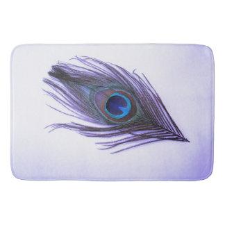 白の紫色の孔雀の羽 バスマット