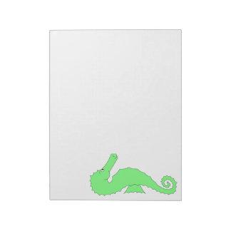白の緑のタツノオトシゴ ノートパッド