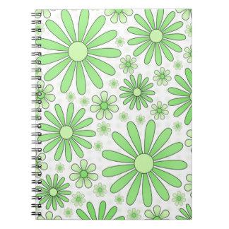 白の緑のフラワーパワー ノートブック