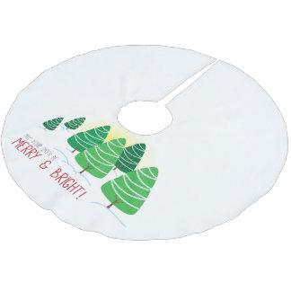 白の緑の木とメリー及び明るい ブラッシュドポリエステルツリースカート