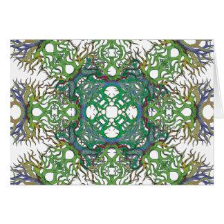 白の緑の格子 カード