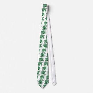 白の緑の結び糸細工のドラゴン ネクタイ