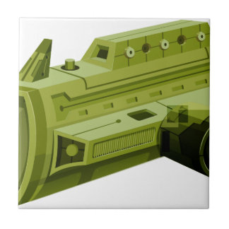 白の緑のrocketship タイル