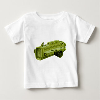 白の緑のrocketship ベビーTシャツ