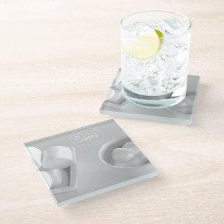 白の美しい設計されていたガラスコースター ガラスコースター