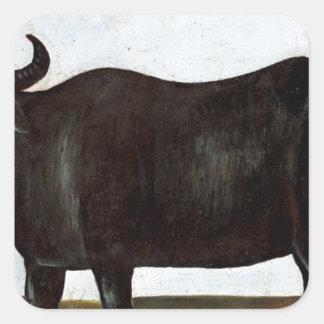 白の背景(diptyの黒い水牛の部分 スクエアシール