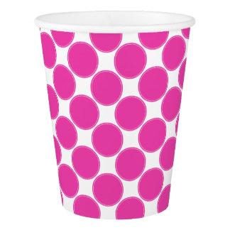白の花型女性歌手のピンクの水玉模様 紙コップ