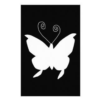白の花型女性歌手の蝶 便箋