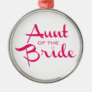 白の花嫁のショッキングピンクの叔母さん メタルオーナメント