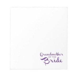 白の花嫁の紫色の祖母 ノートパッド