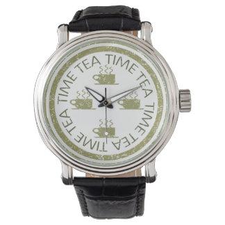 白の茶時間緑 腕時計