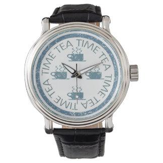 白の茶時間青 腕時計