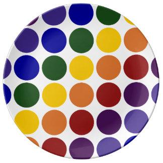 白の虹の水玉模様 磁器プレート
