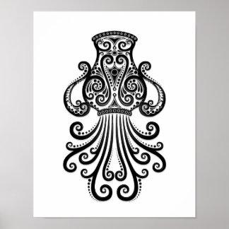 白の複雑で黒いアクエリアスの(占星術の)十二宮図 ポスター