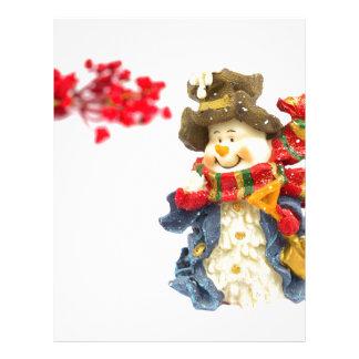 白の赤い果実が付いているかわいい雪だるまの置物 レターヘッド