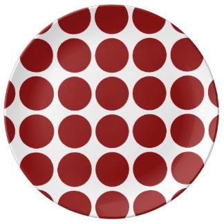 白の赤い水玉模様 磁器プレート