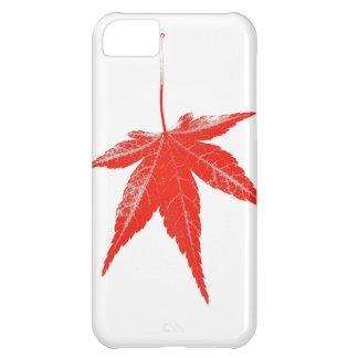 白の赤い秋の葉 iPhone5Cケース