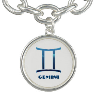 白の青いジェミニ(占星術の)十二宮図のシンボルや象徴 ブレスレット