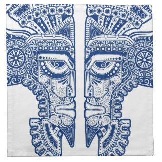 白の青いマヤの双生児のマスクの錯覚 ナプキンクロス