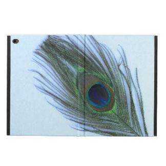 白の青い孔雀の羽 POWIS iPad AIR 2 ケース