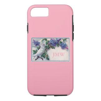 白の鳩およびライラックのモノグラムのピンクのカスタム色 iPhone 8/7ケース
