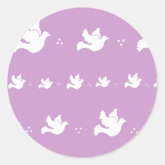 白の鳩のデザイン-カスタマイズ可能な背景色 ラウンドシール