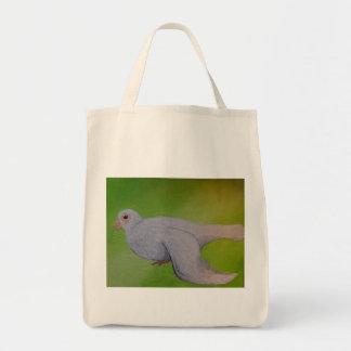 白の鳩の買い物袋 トートバッグ