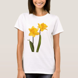 白の黄色い春のラッパスイセン Tシャツ